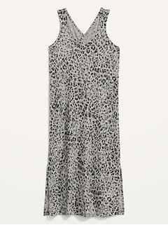 Sleeveless Specially-Dyed Cross-Back Leopard-Print Midi Shift Dress for Women