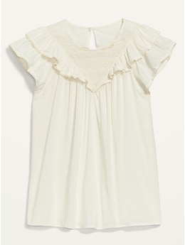 Ruffled Lace-Trim Short-Sleeve Blouse for Women