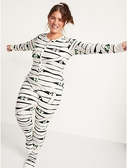 Matching Halloween Graphic One-Piece Pajamas for Women