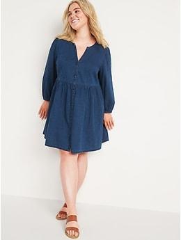 Long-Sleeve Fit & Flare Jean Mini Dress for Women
