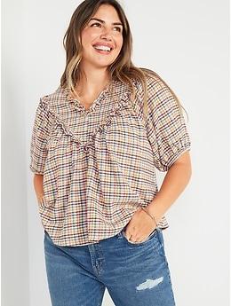 Oversized Short-Sleeve Ruffled Dobby Gingham Blouse for Women