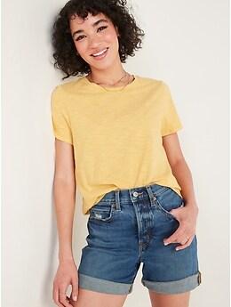 T-shirt passe-partout ras du cou à rayures à manches courtes pour Femme