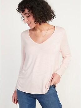 T-shirt luxueux à encolure enV en tricot flammé à manches longues pour Femme