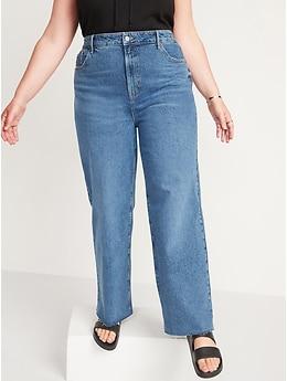 Jean coupé à jambe large et taille très haute au fini moyen pour Femme