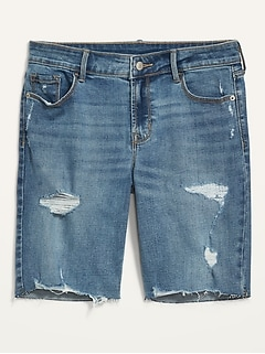 Mid-Rise Distressed Jean Bermuda Shorts for Women - 9-inch inseam