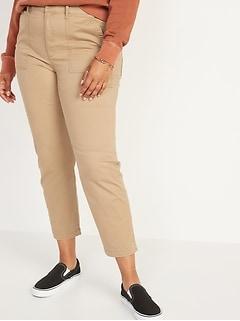 Pantalon chino militaire à taille haute, longueur à la cheville, pour femme