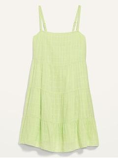 Sleeveless Tiered Dobby Swing Dress for Women