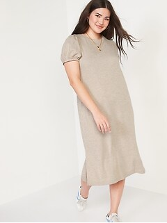 Puff-Sleeve Midi T-Shirt Shift Dress for Women