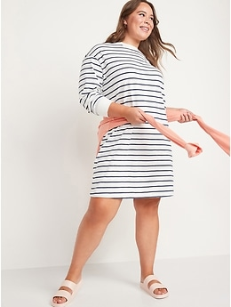 Loose Vintage Striped Long-Sleeve T-Shirt Dress for Women