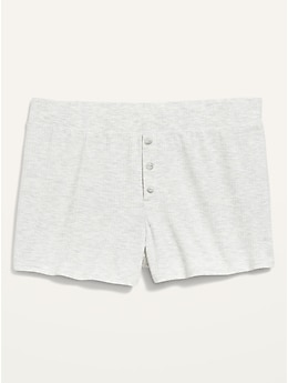 High-Waisted Sunday Sleep Rib-Knit Boxer Shorts for Women -- 2-inch inseam