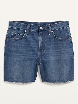 High-Waisted Slouchy Cut-Off Jean Shorts for Women -- 5-inch inseam