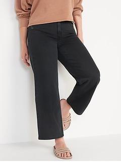 Jean noir à jambe large et taille très haute longueur3/4 pour Femme