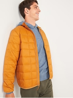 Water-Resistant Grid-Quilted Zip Puffer Jacket for Men