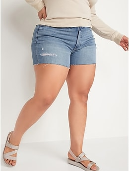 High-Waisted O.G. Straight Ripped Cut-Off Jean Shorts for Women -- 3-inch inseam