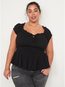 Smocked Crinkle-Textured Short-Sleeve Peplum Top for Women