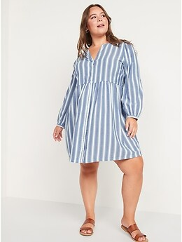Long-Sleeve Button-Down Mini Swing Dress for Women