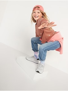 High-Waisted Slouchy Straight Light-Wash Jeans for Girls