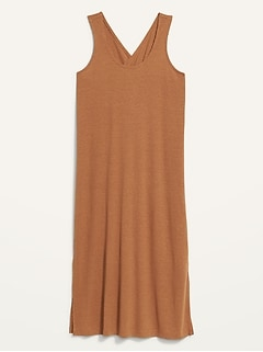 Sleeveless Cross-Back Rib-Knit Midi Shift Dress for Women