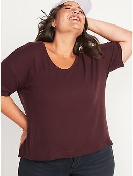 Short-Sleeve Voop Plush Easy T-Shirt for Women