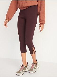 High-Waisted Cropped Lattice-Hem Leggings For Women