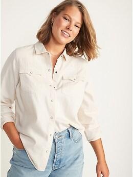 Ecru-Wash Western Jean Shirt for Women