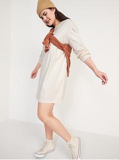 Loose Vintage Long-Sleeve T-Shirt Shift Dress for Women