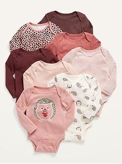 Unisex 8-Pack Long-Sleeve Bodysuit for Baby