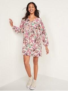Floral-Print V-Neck Long-Sleeve Swing Dress for Women