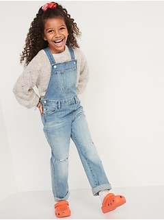 Slouchy Straight Ripped Jean Overalls for Girls