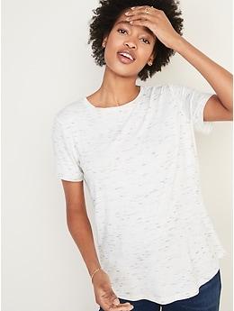 T-shirt ras du cou luxueux teint par espacements pour femme