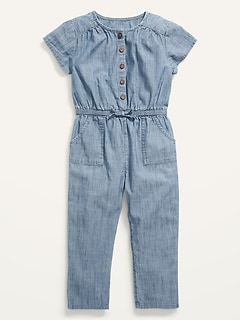 Short-Sleeve Cinched-Waist Chambray One-Piece for Toddler Girls