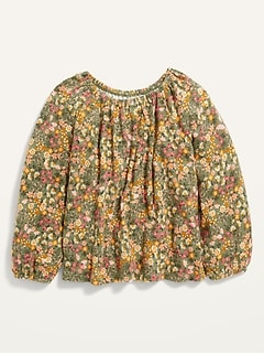 Long-Sleeve Plush-Knit Floral Top for Toddler Girls