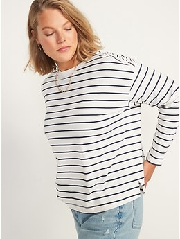 Long-Sleeve Vintage Loose Striped Easy T-Shirt for Women