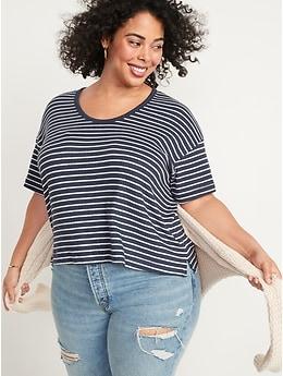 T-shirt duveteux confort à manches courtes et encolure dégagée enV pour Femme