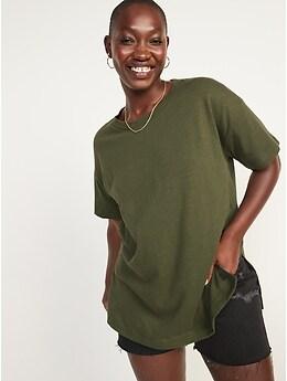 T-shirt tunique surdimensionné en tricot flammé à manches courtes pour Femme
