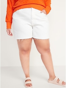 High-Waisted Slouchy White Cut-Off Jean Shorts for Women -- 5-inch inseam