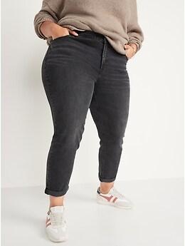 Mid-Rise Black-Wash Boyfriend Jeans for Women