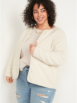 Collarless Sherpa Jacket for Women