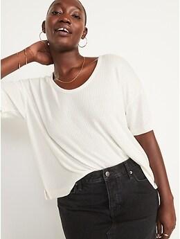 T-shirt duveteux confort à encolure dégagée enV et manches courtes pour Femme