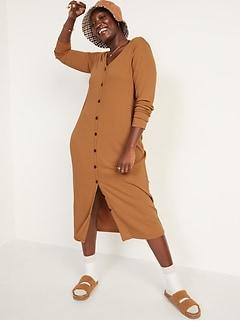 Rib-Knit Cardigan Sweater Midi Dress