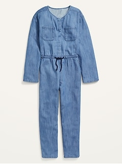 Long-Sleeve Utility Jean Jumpsuit for Girls