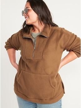 Cozy Sherpa Half-Zip Tunic Sweatshirt for Women