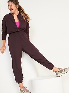 StretchTech Cropped Zip Bomber Jumpsuit for Women
