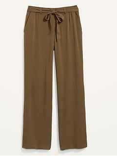 Pantalon doux ceinturé à taille haute pour femme