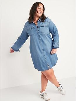 Western Jean Shirt Dress for Women
