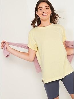 Oversized Vintage Garment-Dyed Tunic T-Shirt for Women