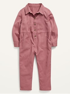 Relaxed Long-Sleeve Button-Front One-Piece for Toddler Girls