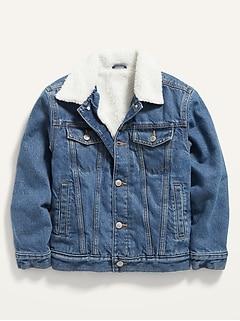 Gender-Neutral Oversized Sherpa Jean Trucker Jacket for Kids