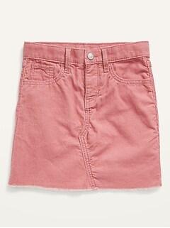High-Waisted Button-Fly Frayed-Hem Corduroy Skirt for Girls