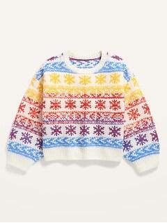 Cozy Fair Isle Space-Dye Sweater for Girls